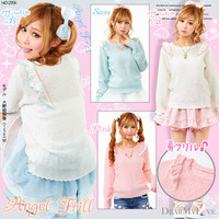 Angel shoulder frill♪Scallop knit tops