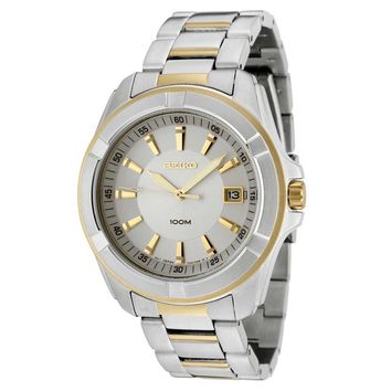 Seiko SGEE74P1 Men's Two-Tone Gold Plated SS Silver Dial Watch