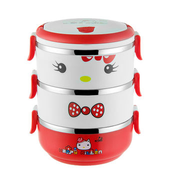 Hello kitty Multilayer Lunch Box Food Thermo Lunch box for Kids Cartoon Thermal Bento Lunchbox 304 Stainless Steel D1