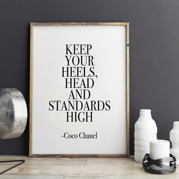 Inspirational Print Coco Chanel Fashion Print, Bathroom art print, Dorm decor, wall art quote, printable quotes, typographic print