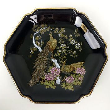 Vintage Otagiri Japan Porcelain Decorative Plate, Peacocks, Floral Blossoms, Gold Trim, Vintage Japanese Home Decor, Hand Painted