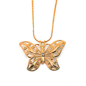 Butterfly gold necklace, vintage butterfly ,Zircon stones  ,Antique butterfly