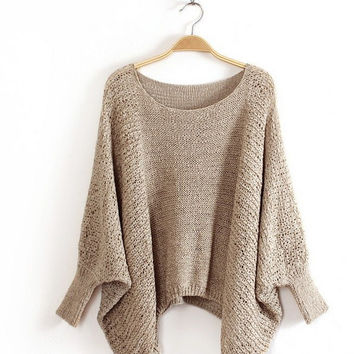 Women Poncho Sweater Ladies Knitted Pullover Sweater Casual Solid Winter Dresses Fashion  Female Knitwear Cotton Outerwear