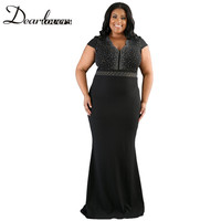 Dear lover Women Plus Size Spandex Dress Black Rhinestone Front Bodice Scalloped Neckline Short Sleeve Maxi Dresses LC61376