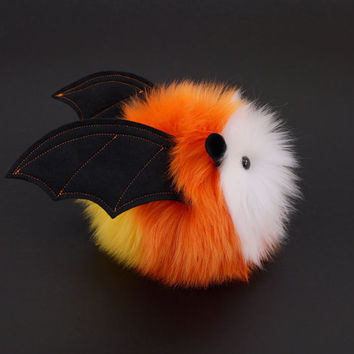 Stuffed Animal Stuffed Bat Cute Plush Toy Bat Kawaii Plushie Corny the Candy Corn Vampire Bat  Halloween Faux Fur Toy Small 4x5 Inches
