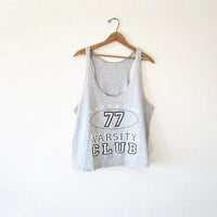 Vintage 90's Light Grey RAINBEAU Rainbow 77 VARSITY Club Athletic RACERBACK Muscle Tank Top Sz Medium