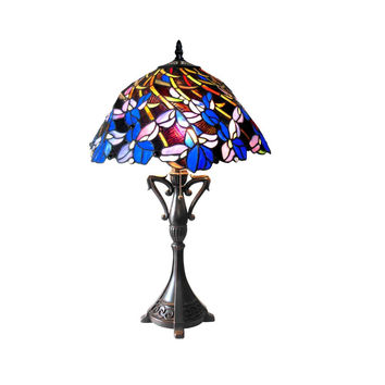 "Natalie, Tiffany-Style 2 Light Iris Table Lamp 19"" Shade"