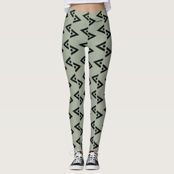 BLACK AND GREEN LEGGINGS ABSTRACT HAVIC ACD