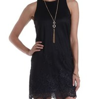 Black Embroidered Tulle Shift Dress by Charlotte Russe