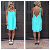Mint Low Back Chiffon Melody Dress