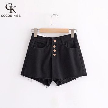 2018 Womens Beautiful Personality Casual Comfortable Button Pockets Three Colors Four Size  Denim Shorts