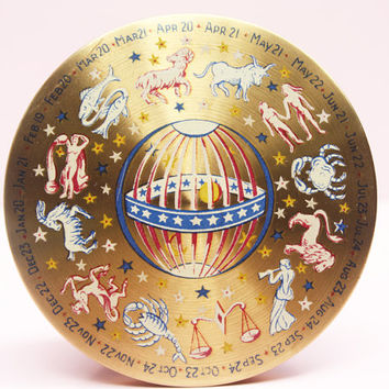 Powder Compact, Astrology, Zodiac, Star Signs, Le Rage Compact, Compact Mirror, Loose Powder Compact, Makeup Case, Handheld - 1940s / 1950s