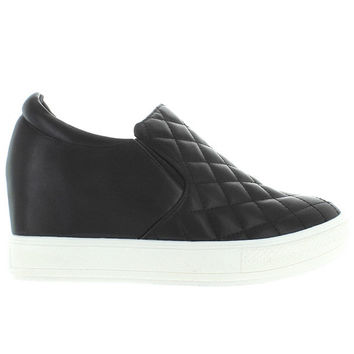 Wanted Bushkill - Black Quilted Platform/Wedge Pull-On Sneaker