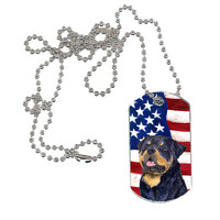 USA American Flag with Rottweiler  Dog Tag