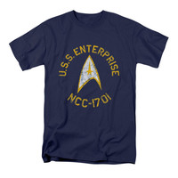 Star Trek Men's  Collegiate T-shirt Navy Rockabilia