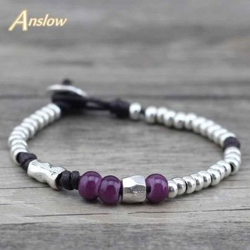 Anslow 2017 New Arrivals Items Vintage Retro Best Friend Friendship Rope Wrap Leather Bracelets Free Shipping Gift LOW0464LB