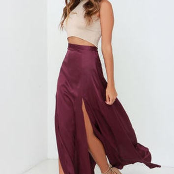 Rise of Dawn Split Second Burgundy Maxi Skirt