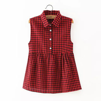 Plaid Print Sleeveless Button-Up Collared Shirt