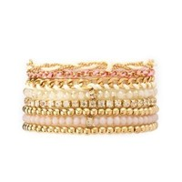 Beaded & Braided Stacking Bracelets - 8 Pack - Gold