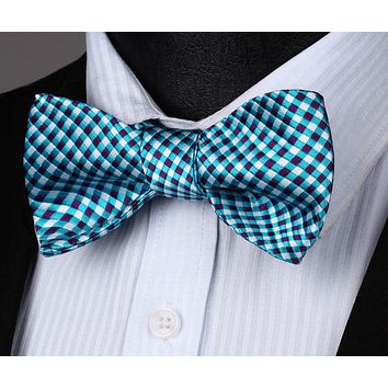 Aqua Purple White Check Silk Self Bow Tie Pocket Square