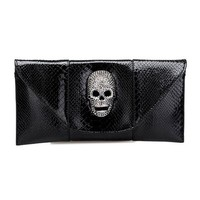 Envelope Shape Purse with Skull Head Embellishment from Hallomall