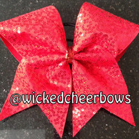 Cheer Bow - Red Squiggle Sequins