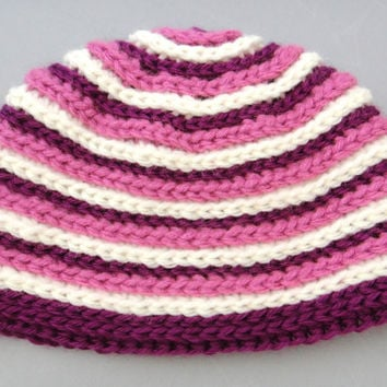 Baby Girl Crochet Beanie Hat Purple Shades