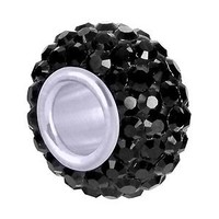 High Quality Authentic 925 Sterling Silver Black Cubic Zincona Crystal Bead Pendant Fits All Brands