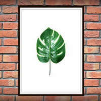 Tropical Leaf Print, Monstera Print, Printable Art, Palm Art Print, Minimalist Art, Textured, Instant Download, Wall Decor *100*