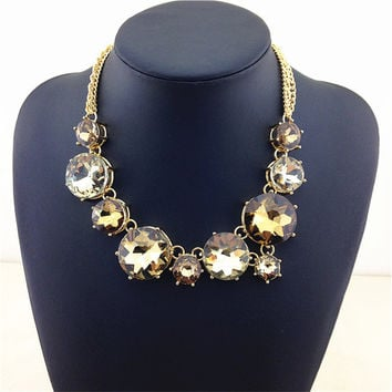 Chunky Choker Big Crystal Necklace & Pendants New Women Costume Accessories Fashion Necklace Large Opal Stone Statement Necklace
