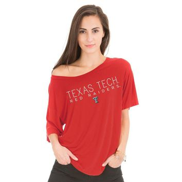 Red Official NCAA Texas Tech University Raiders Ttu Masked Raider Wreck Em Women's Rayon Jersey Oversized Boyfriend Ts