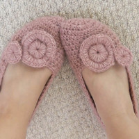 PDF CROCHET PATTERN Slippers Pink Pixie - creamy soft salmon lilac alpaca crocheted shoes