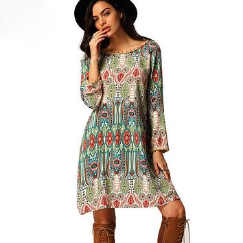 Thefound Ethnic Dress Hippie Boho 2017 Summer Beach Tunic Floral Print 3XL Plus Size Women Clothing Retro Dress