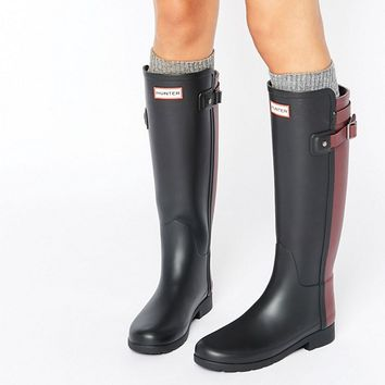 Hunter Original Refined Back Strap Contrast Tall Wellington Boots at asos.com