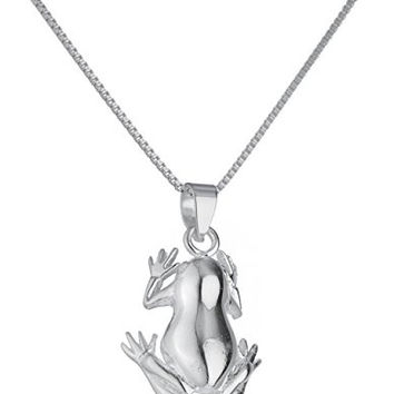925 Sterling Silver Frog Pendant with an 18 Inch Box Chain Necklace