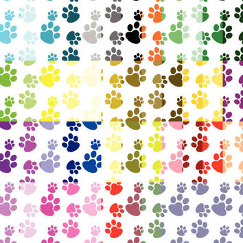 Paws digital paper, Colorful puppy paws paper, Digital paw pattern paper, scrapbook paper, digital background