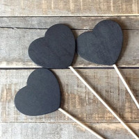 SALE - Wooden Heart Chalkboard Signs, Chalk board Sign Set, Set of 12 , Wedding Table Numbers, Rustic Wedding, Chalkboard Table Numbers