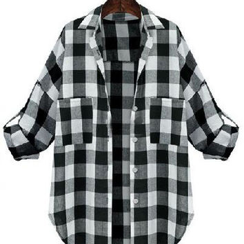 Black and White Plaid Half Sleeve Top with Pocket