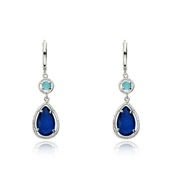 Riccova ARCTIC MIST Aqua & Blue Stone Teardrop Stone Leverback Earrings