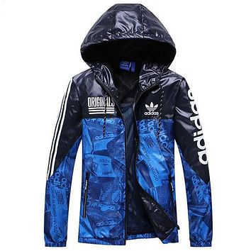 """Adidas"" Women Men Fashion Print Zip Cardigan Jacket Hoodie Coat Sweatshirt Couple Windbreaker Blue"
