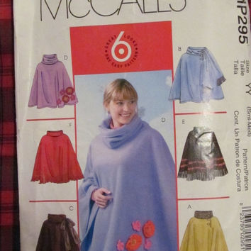 SALE Uncut McCall's Sewing Pattern, 295!  Small/Medium, Women's/Misses Ponchos/Overthrow/Capelet/Fleece/Winter/Fall/Spring/Cold/Winter gear