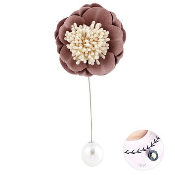 Handmade Women's Cloth Flower Brooch Pin Breastpin with Pearls Gift for Mother's Day Birthday