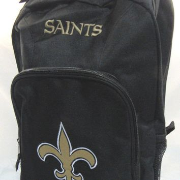 NFL NWT EMBROIDERED YOUTH 2 COMPARTMENT BACKPACK - NEW ORLEANS SAINTS