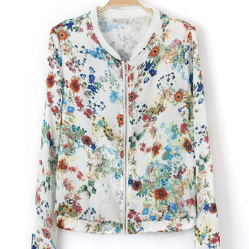 White Floral  Zipper Placket Jacket