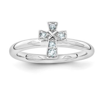 Rhodium Plated Sterling Silver Stackable Aquamarine 9mm Cross Ring