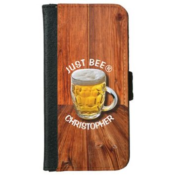 Glass Pint Beer Mug With White Head With Your Text Wallet Phone Case For iPhone 6/6s