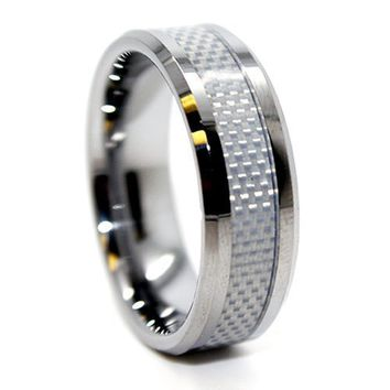 Blue Chip Unlimited - 8mm Tungsten White Carbon Fiber Mens Wedding Rings Engagement Bands Size (14.5)