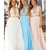 Blush Chiffon Metallic Belted Gown With Gold Studded Bodice