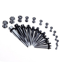 28 Pieces Tapers and Plugs Set - 7 Pairs Black and White Checkerboard Stretching Kit 10G-00G