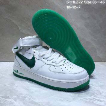 KUYOU N867 Nike Air Force 1 Low Flax High Skate Shoes White Green